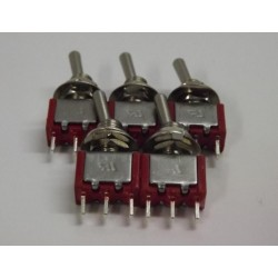 5x NEW Miniature Toggle Switches- SPDT ON/OFF/ON